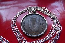 """1935 Antique Irish Penny Bezel Pendant on a 28"""" 925 Sterling Silver Chain"""