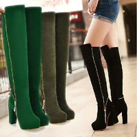 Winter Fashion Women's Warm Boots Ladies' Knee-high Side Zip Riding Knight Shoes