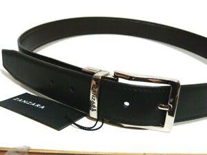 NWT ZANZARA ** Fantastic reversible leather men's belt black/brown SZ 36 $125