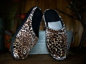 SHARPER IMAGE MEMORY FOAM LEOPARD PRINT LADIES SLIPPERS SHOES SIZE MED 9-10 NEW