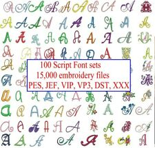 15,000 Embroidery Files (100 SCRIPT Font Sets) on USB