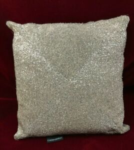 Silver Beaded Sequin Decorative Pillow Square 12x13 Short Metallic Bugle Beads