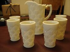 Vintage Westmoreland Quilt Design Milk Glass - Pitcher and 6 Matching Glasses
