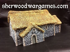 28mm Dark Age Flint Church With Thatch. Saga Swordpoint, Ancients Pro Painted.