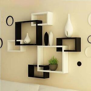 Modern Intersecting Floating Wall Shelf Home Wall Decor Set of 6 ( White ,Black)