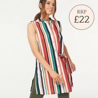 Ex Bon Marche Striped Sleeveless Multicolour Top Shirt Belted Size 10 - 26