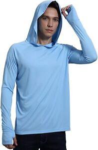 Men's UPF 50+ Sun Protection Hoodie Shirt Dri-Fit Long Sleeve T-Shirt Size 3XL