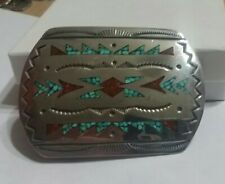 VINTAGE NATIVE AMERICAN STERLING SILVER TURQUOISE CORAL INLAY BELT BUCKLE
