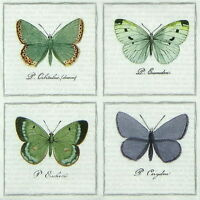 4x Paper Napkins for Decoupage Craft Vintage Big Butterflies