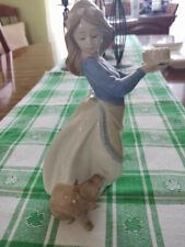 """Nao Lladro figurine Girl with Dog and Cake 7 1/4"""" Tall"""
