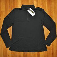 Nike Dri-FIT UV Victory 1/2 Zip Golf Shirt Women M BV0235-010 Black Stripes New