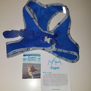 Supet PET VEST HARNESS with Leash - XL  BLUE Soft Mesh, Adjustable Dog or Cat