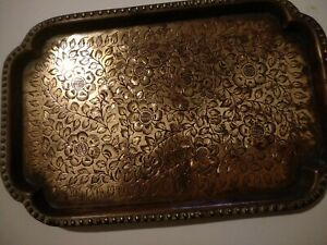 Vth engraved decorative floral brass/bronze tray plate etched dish needs cleanin