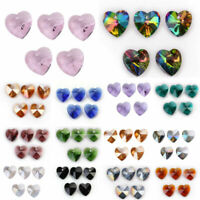 14mm 10pcs Charms Heart Faceted Crystal Glass Loose Spacer Beads Jewelry Pendant