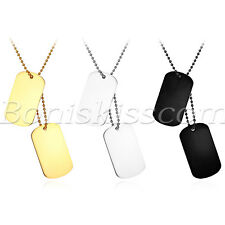 Men Women Polish Stainless Steel 2 Dog Tag Pendant Necklace Chain Free Engraving