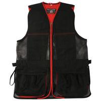 Skeet Shooting Vest - Red - Percussion Black Mesh Hunting Clay Pigeon Jacket