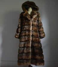 OUTSTANDING VINTAGE RICH BROWN FAUX SABLE MINK FUR LONG COAT with ATTACHED HOOD