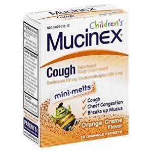 Mucinex Children's Cough Mini-Melts Packets Orange Creme Flavor 12 Ea (2-Pack)