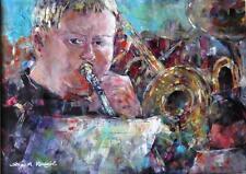 "NEW BEAUTIFUL SERA KNIGHT ORIGINAL ""Trombone Player II"" Music Concert PAINTING"