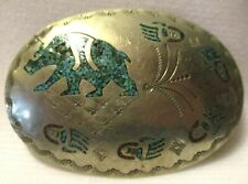 FABULOUS NAVAJO SIGNED ~NAKAI~ INLAID with TURQUOISE BELT BUCKLE 1980's
