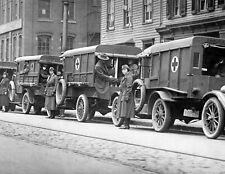 "1919 Red Cross Ambulances on New York City Street Old Photo 8.5"" x 11"" Reprint"