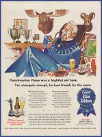 Vintage 1944 PABST BLUE RIBBON Beer Alcohol Ephemera 40's Print Ad