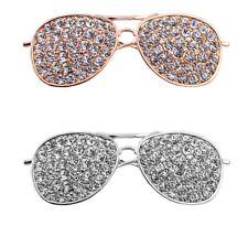Glasses Brooch Broach Pin Large Vintage Alloy Rhinestone Diamante Wedding UK