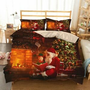 Christmas Decor Bedding Set 3D HD Printed Double Bed Duvet Cover with Pillowcase