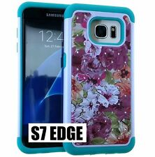 For Samsung Galaxy S7 Edge - HYBRID DIAMOND BLING CASE BLUE PINK PASTEL FLOWERS