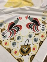 Vtg Chanticleer Rooster Chickens Abstract Eggs Pot Printed Tablecloth Simtex??