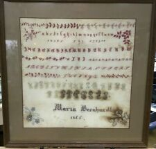Extremely Fine Needlework Sampler 1865 Letters Numbers Flourishes German Signed