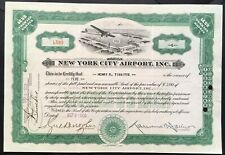 NEW YORK CITY AIRPORT INC. Stock 1930. Flushing, Long Island. Preceded LaGuardia