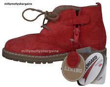 New Baby Boys Red Suede Leather NEXT Boots Size 7 Infant RRP £30