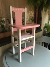 Doll High Chair Hand-Crafted Vintage Solid Wood White Pink Hearts Charming Vgc
