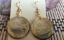 NEW 30x30mm beautiful Abalone Shell Earrings horse AAA