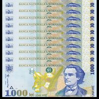 Lot 10 PCS, Romania 1000 1,000 Lei, 1998, P-106, UNC