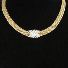 "NYJEWEL Dankner 14k Two Tone Gold 1.1ct Diamond Slide Pendant Mesh Necklace 16"""