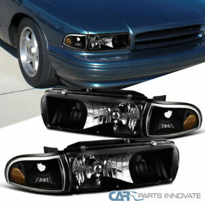 For Chevy 91-96 Caprice 94-96 Impala Matte Black Headlights Corner Signal Lamps