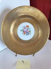 Royal Bavarian Hutschenreuther Selb 22K Gold Floral Dinner Cabinet Plate 9