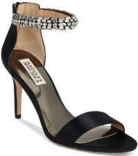 Badgley Mischka Womens Carlotta Crystal Sandal Wedding Shoes Black Satin 6.5 NIB