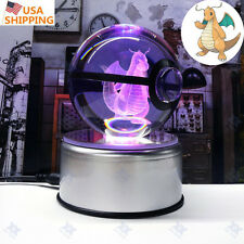 Pokemon Go Dragonite 3D Crystal Ball LED Night Light Desk Table Lamp Child Gift