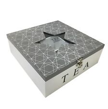 Karla - Geometric Wooden Tea Box with 9 Compartments Star Glass Top (Grey)
