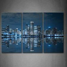 Framed Chicago City Buildings Wall Art Painting Picture Canvas Print Pictures