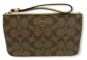 Coach Women's Large Wristlet Wallet in Signature Canvas - Khaki/Sunflower/Gold