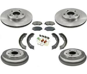 Front Rotors Brake Pads Rear Drums Shoes & Springs for Honda Accord 2.4L 03-07
