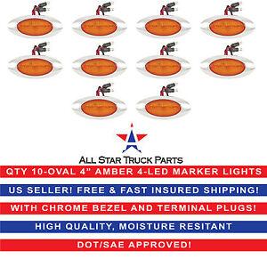 "4"" Oval Side Marker Light 4 LED Amber Chrome Bezel Freightliner Trailer QTY 10"