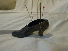 "Vintage FLORENZA Silver & Blue Velvet PIN CUSHION Victorian Shoe 3 3/8"" long"