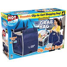 INSULATED GRAB BAG REUSABLE CLIP-TO-CART SHOPPING BAG