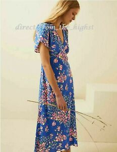 M&S x Ghost Blue Mix Floral V-Neck Midi Tea Dress ALL SIZES