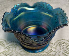 NOS Indiana Iridescent Blue Carnival Glass Footed Berry/Dessert Bowl